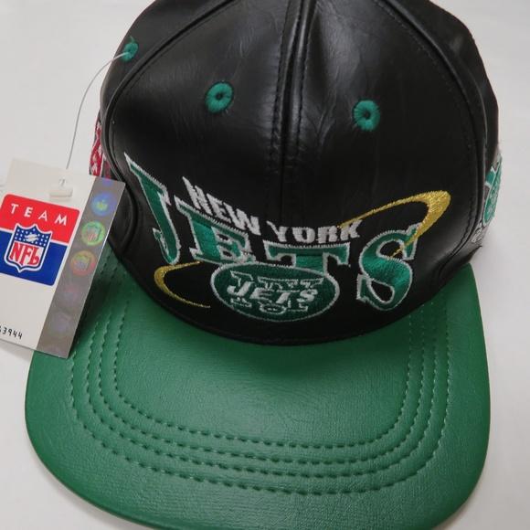 91ce08cad8067 NY Jets Genuine Leather Strapback Hat NFL Pro